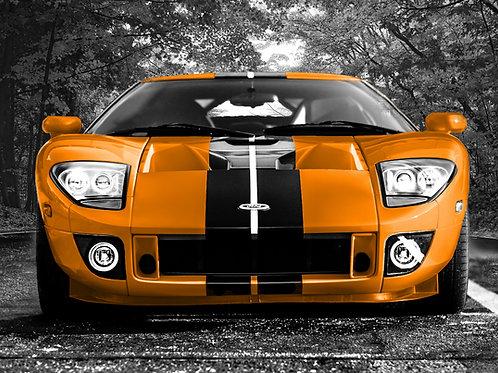 Printable File Orange Ford GT Sport Car Poster Picture Instant File Download