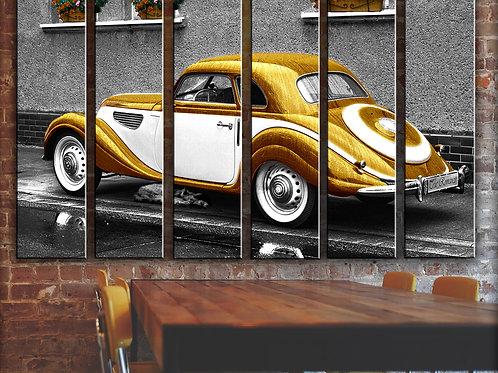 Gold Vintage Car Wall Art Decor Picture Painting Print Transportation Art