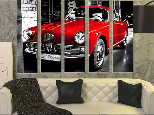 Alfa Romeo Giulietta Wall Art Decor Picture Painting Print 35 by 55 in ,Red