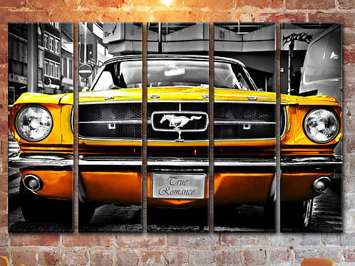 Big Golden Ford Mustang 1964 Wall Art Decor Picture Painting Print 35 by 55 in