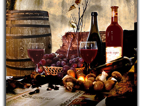 Large Wine Wall Art Decor With Barrel And Glasses 31x31 in
