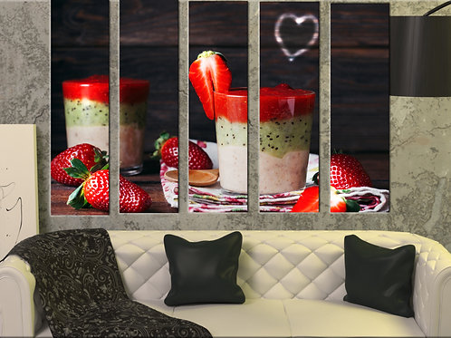 Big Kitchen Strawberry Smoozie Wall Art Decor Picture Painting Print 35 by 55 in