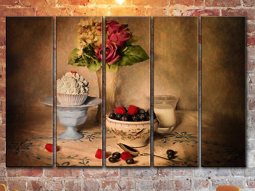 Large Flowers Still Life Wall Art Decor Picture Painting Print 35 by 55 in