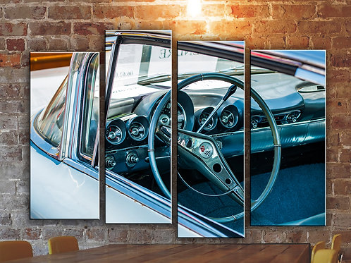 Classic American Muscle Car Wall Art Decor Picture Painting Print 4p, 32x44