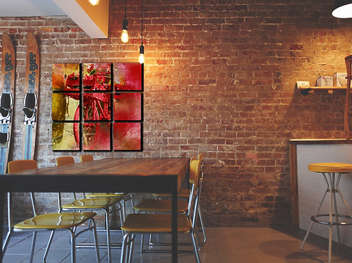 Bicycle Red Flowers Wall Art Decor Picture Painting Print 30x30