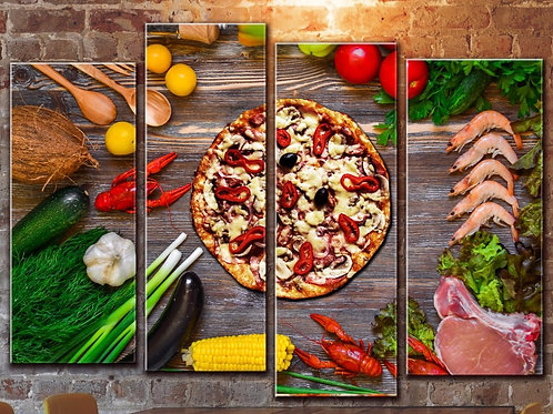 Large Pizza Sea Food Wall Art Decor Picture Painting Print 32 by 44 in