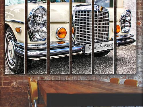White Mercedes-Benz Wall Art Decor Picture Painting Print Vintage Car Art
