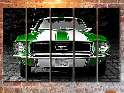 Big Green Ford Mustang Wall Art Decor Picture Painting Print 35 by 55 in