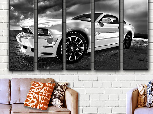 White Ford Mustang Wall Art Decor Picture Painting Print 35 by 55 in
