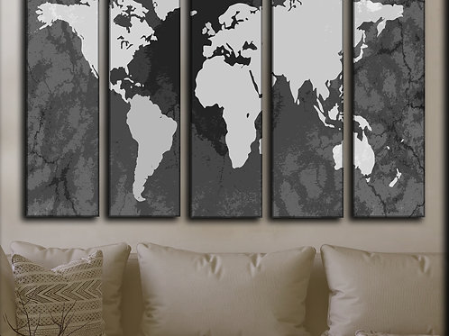 Big  Travel World Map Wall Art Decor Picture Painting Print 35 by 55 in