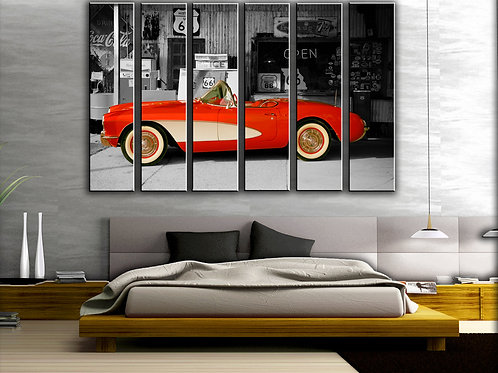 Chevrolet Corvette Route-66 Wall Art Decor Picture Painting Print 44 by 67 in