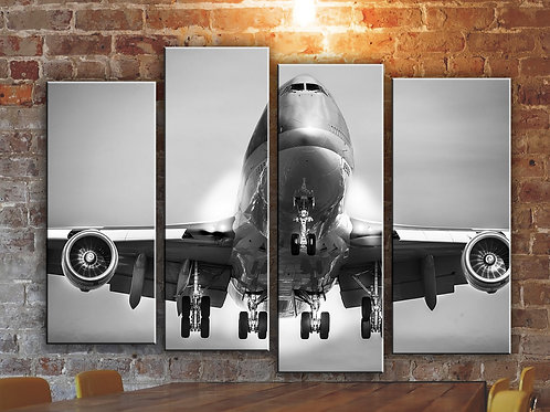 Big Jumbo Jet Boeing-747 Wall Art Decor Picture Painting Print 32 by 44 in