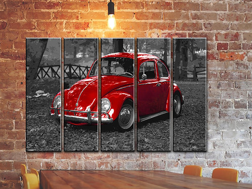 Big RED VW BEETLE Wall Art Decor Picture Painting Print 35 by 55 in