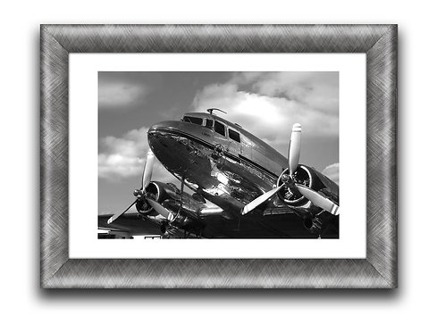 DC-3 Airplane Framed Wall Art Decor Picture Painting Print 12 by 16 in