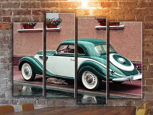 Vintage Car and Cat Wall Art Decor Picture Painting Print Vintage Car Art