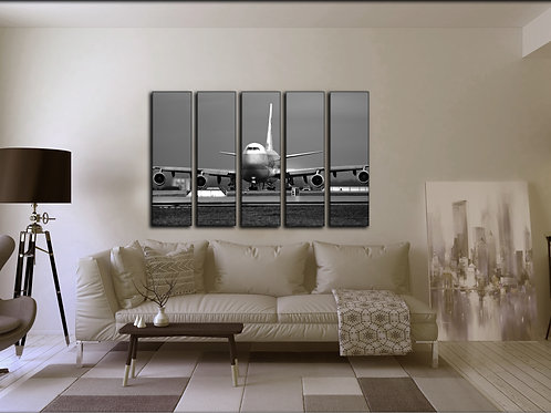 Airplane Wall Art Aviation Decoration Picture with Boeing 747 Jumbo Jet 35x55 in