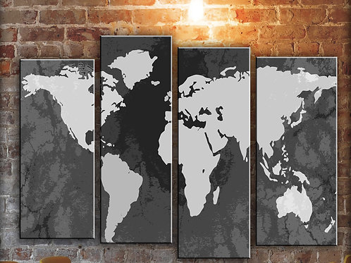 Big Push Pin World Map Wall Art Decor Picture Painting Print 32 by 44 in