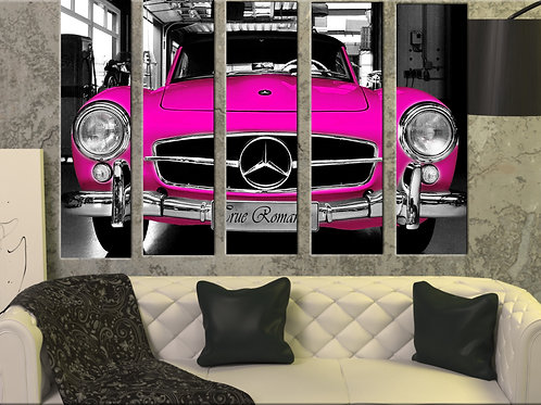 Big Vintage Pink Mercedes Wall Art Decor Picture Painting Print 35 by 55 in