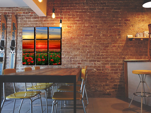 Sunset Sky and Poppies Wall Art Decor Picture Painting Print Nature Art