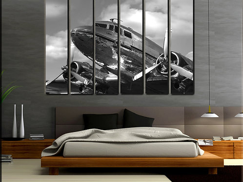 Big Vintage DC-3 Airplane Wall Art Decor Picture Painting Print 44 by 67 in