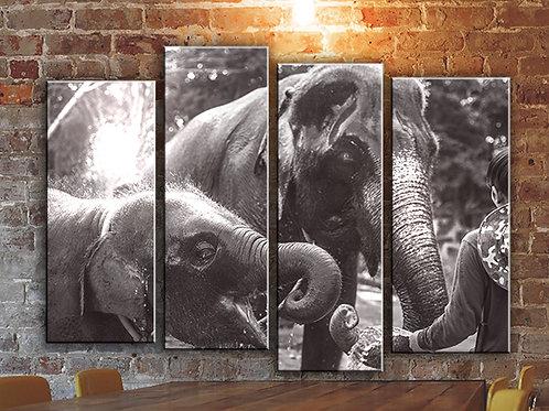 Elephants Vintage Photo Wall Art Decor Picture Painting Print Travel Art
