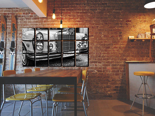 White Mercedes-Benz Wall Art Decor Picture Painting Print Vintage Car Art