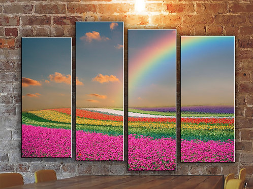 Rainbow and Flowers Wall Art Decor Picture Painting Print Nature Art