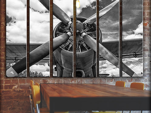 Big Vintage Airplane Propeller Wall Art Decor Picture Painting Print 44 by 67 in