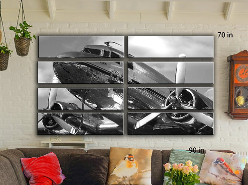 Huge Vintage DC-3 Airplane Wall Art Decor Picture Painting Print 70 by 90 in