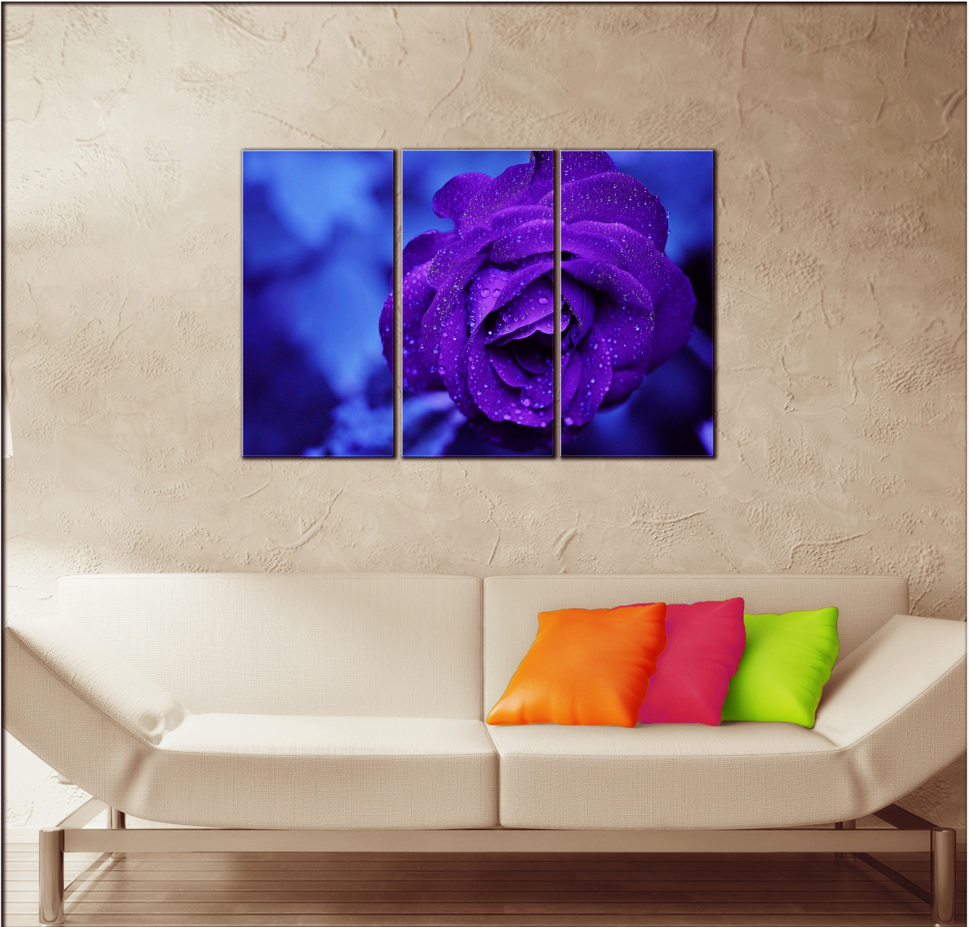 Big Blue Violet Rose Wall Art Decor Picture Painting Print 22 By 33 In