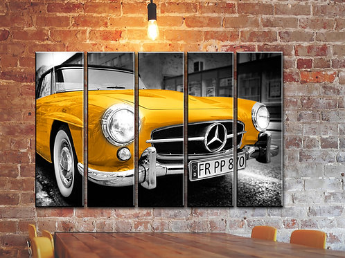 Big Gold Vintage Mercedes Wall Art Decor Picture Painting Print 35 by 55 in