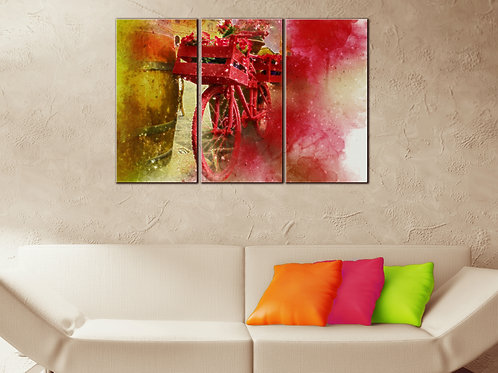 Bicycle Red Flowers Wall Art Decor Picture Painting Print 22x33