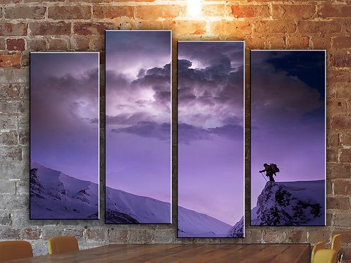Winter Mountain Clouds Wall Art Decor Picture Painting Print Travel Art