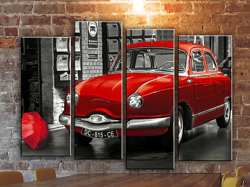 Car and Umbrella Wall Art Decor Picture Painting Print Vintage Car Art