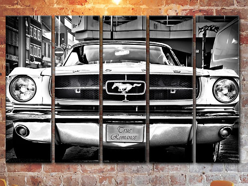 Picture White Ford Mustang Wall Art Decor Picture Painting Print 35 by 55 in