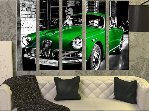 Alfa Romeo Giulietta Wall Art Decor Picture Painting Print 35 by 55 in, Green