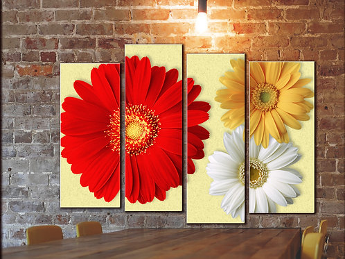 Red Gerbera Flowers Wall Art Wall Art Decor Picture Painting Print 32 by 44 in
