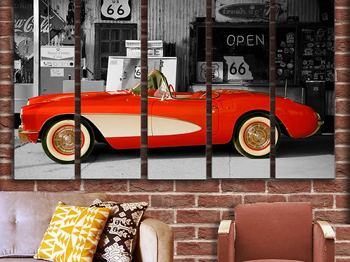 Route-66 Chevrolet Corvette Wall Art Decor Picture Painting Print 35 by 55 in