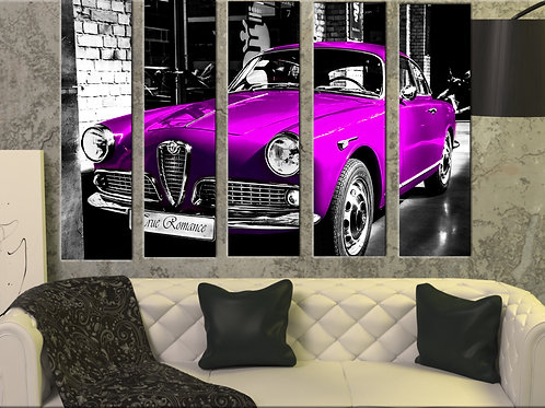 Alfa Romeo Giulietta Wall Art Decor Picture Painting Print 35 by 55 in ,Pink