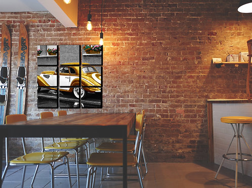 Gold Vintage Car Wall Art Decor Picture Painting Print Transportation Art