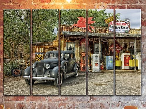 Large Route 66 Rusty Car Wall Art Decor Picture Painting Print 35 by 55 in