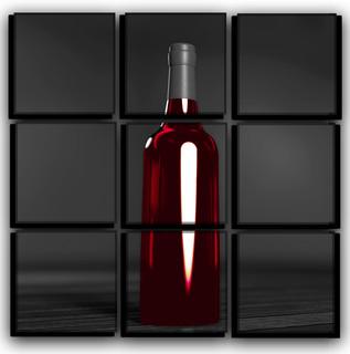 Red wine bottle modern wall art on canvas