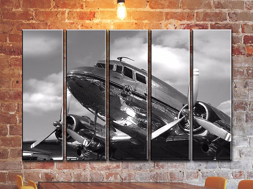 Big Vintage DC-3 Airplane Wall Art Decor Picture Painting Print 35 by 55 in