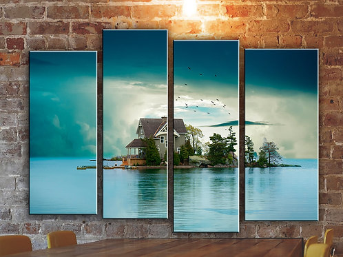 House at a Lake Wall Art Decor Picture Painting Print Nature Art