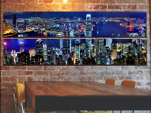 Cityscape Wall Art Hongkong Picture Print on Canvas Peices 22x67 Inches Overall