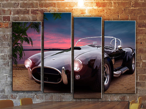 Vintage Car AC Cobra Wall Art Decor Picture Painting Print Classic Oldtimer Art