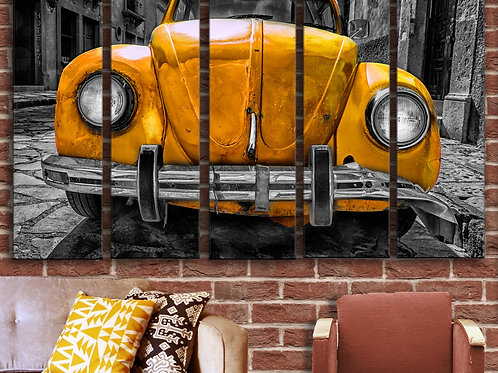 Rusty Volkswagen VW Beeetle Wall Art Decor Picture Painting Print 35 by 55 in
