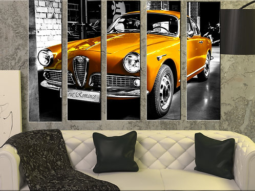 Alfa Romeo Giulietta Wall Art Decor Picture Painting Print 35 by 55 in ,Golden
