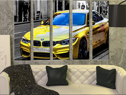 Large Sport Car Yellow BMW M4 Wall Art Decor Picture Painting Print 35 by 55 in