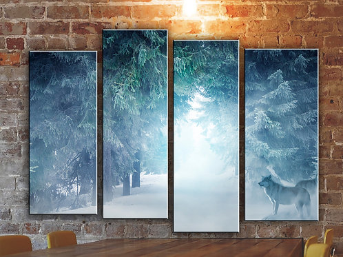 Wolves in Winter Forest  Wall Art Decor Picture Painting Print Creative Art